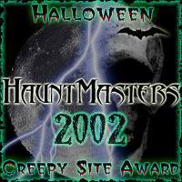 HauntMasters Creepy Site Award